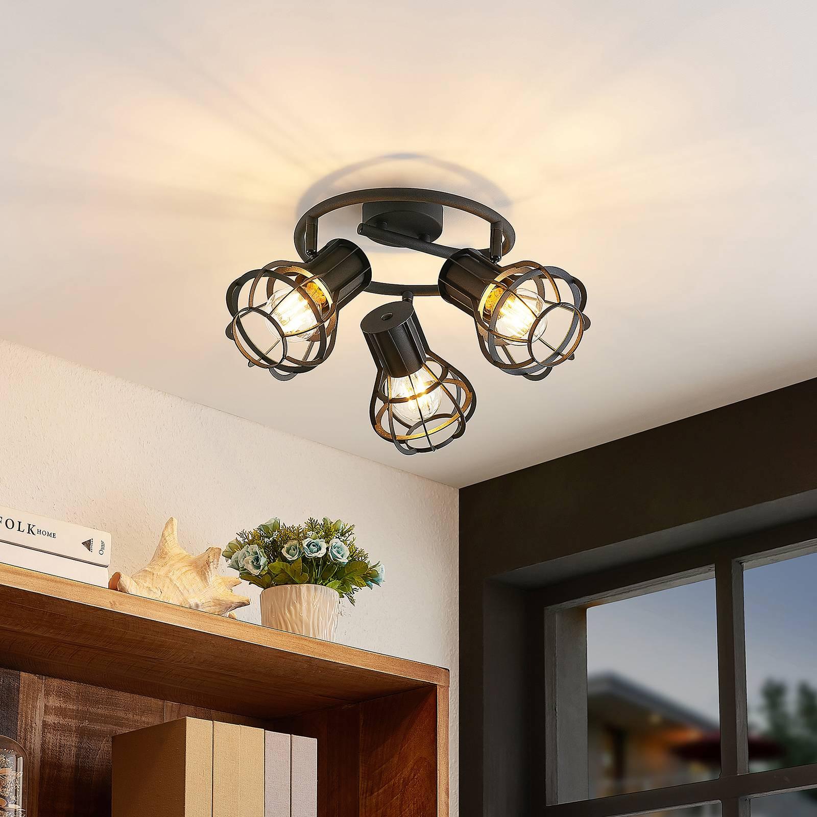 Lindby Nurja -kattovalaisin, pyöreä, 3-lamppuinen