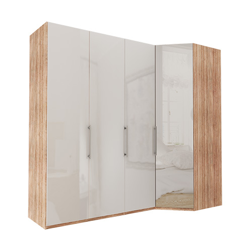Garderobe Atlanta - Lys rustikk eik 150 cm, 216 cm, Hjørne
