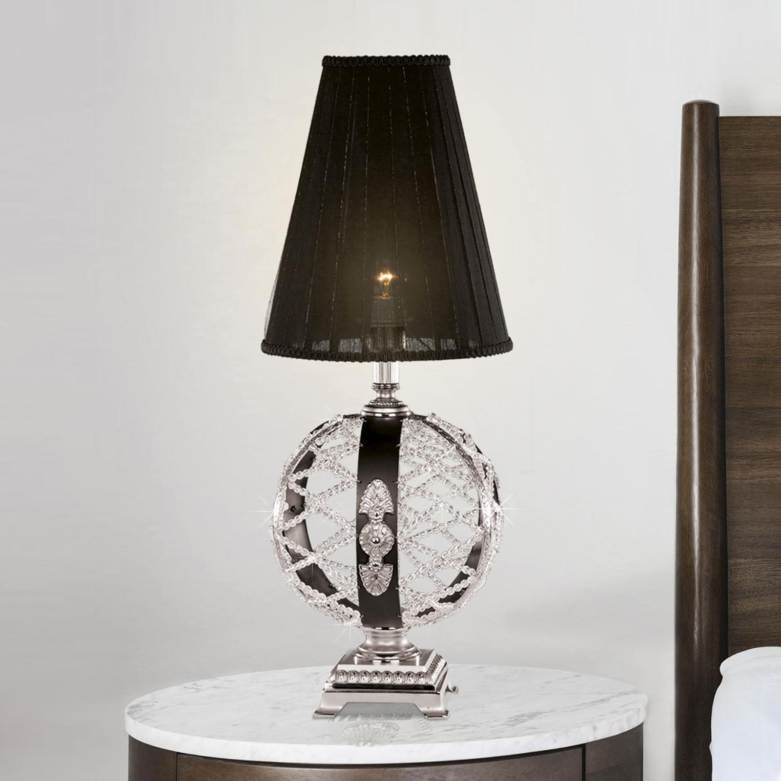 Pöytälamppu Arianna musta, nikkeli, kristalli