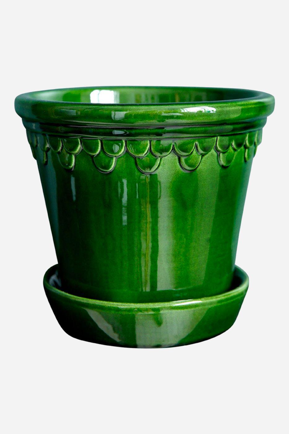 Kruka Köpenhamn 25 cm grön inkl. fat