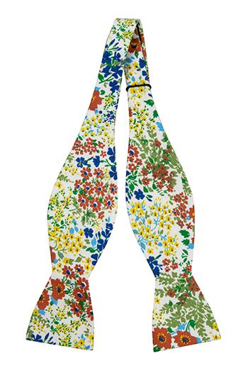 Bomull Sløyfer Uknyttede, Gule, blå og rødbrune blomster på hvitt