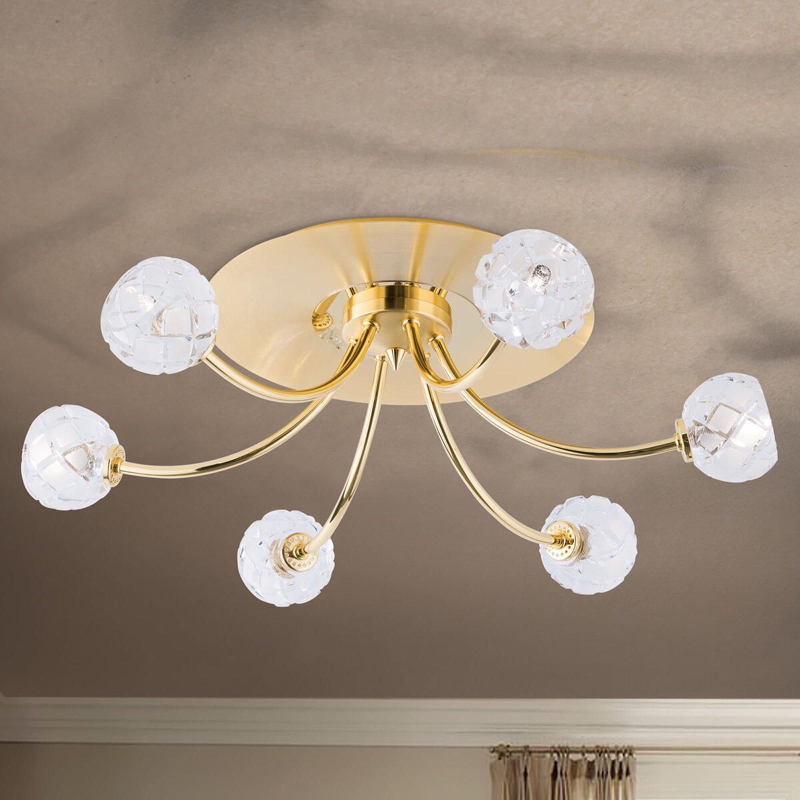 Blykrystall-taklampe Maderno, gull, 57cm