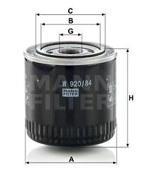 Öljynsuodatin MANN-FILTER W 920/84