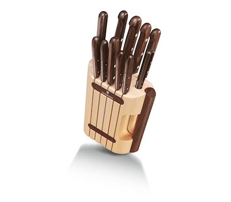 Knivblock 11 delar Trähandtag