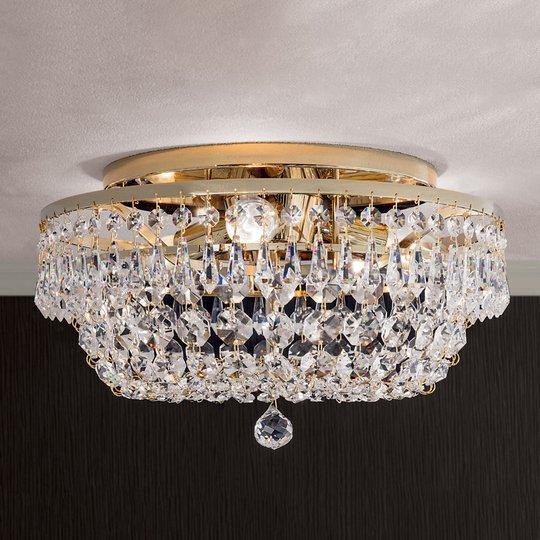 Pyöreä kristallikattokruunu SHERATA, kulta 35 cm