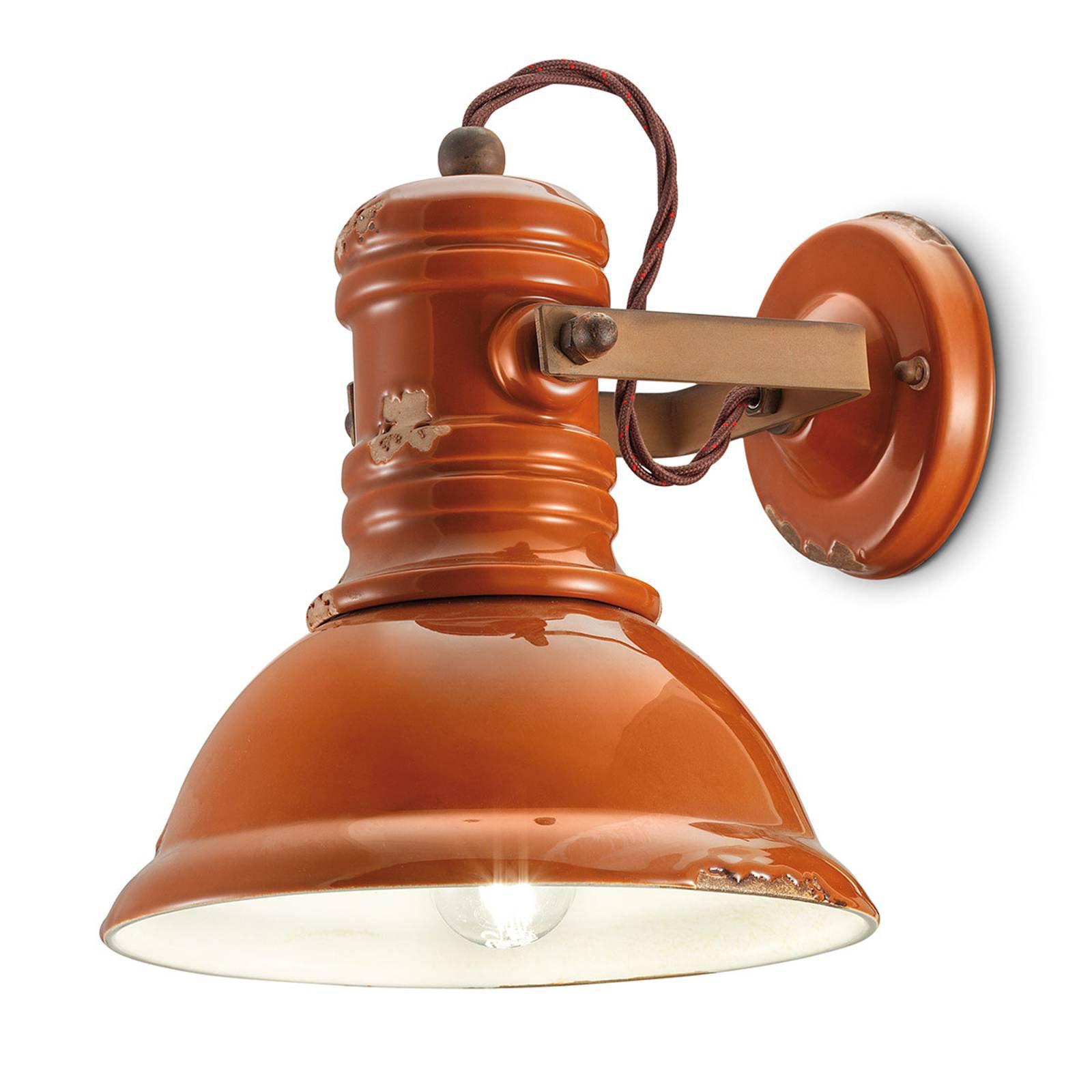 Vegglampe keramikk C1693 industriell stil oransje