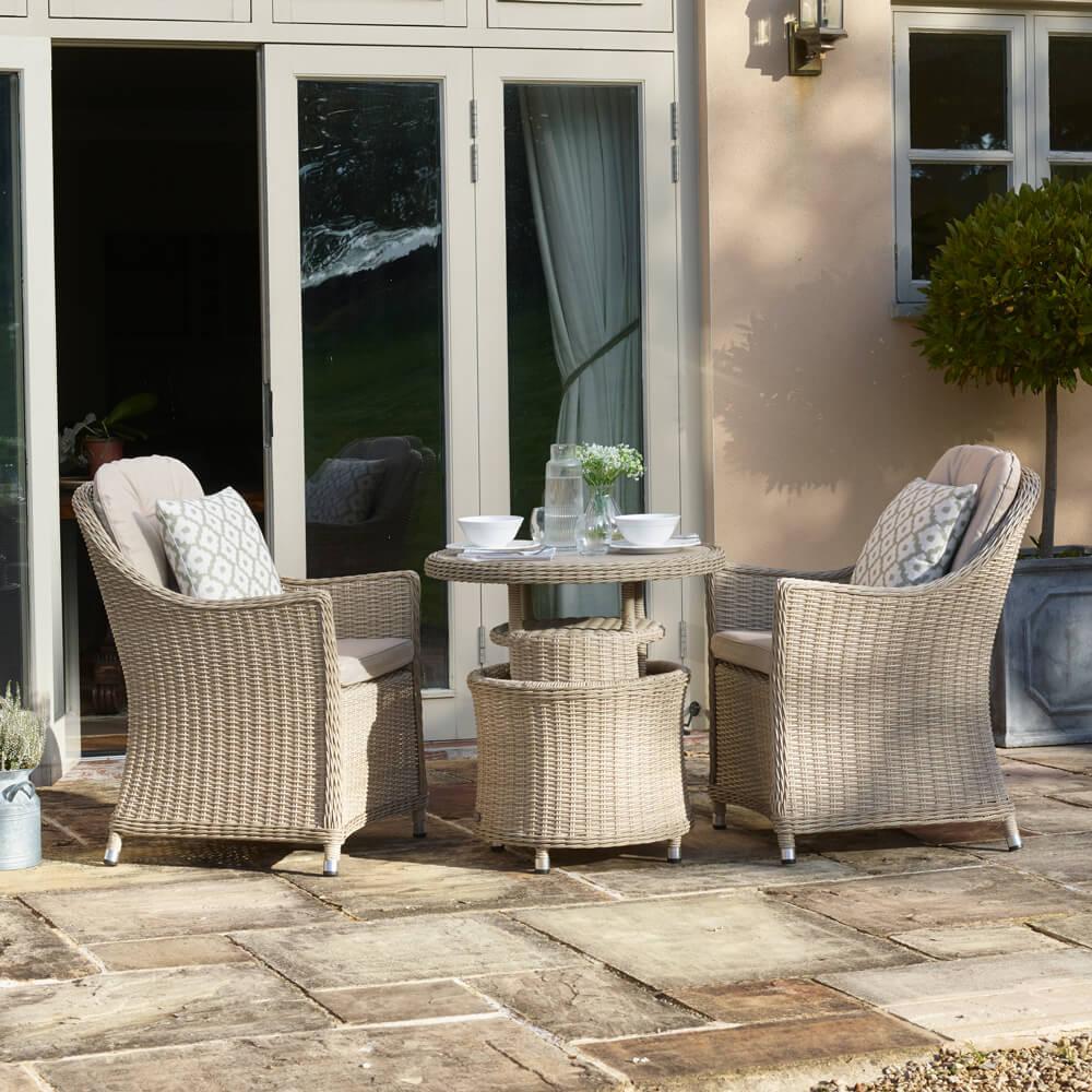 2021 Bramblecrest Monterey Garden Bistro Set With Ceramic Adjustable Table - Sandstone