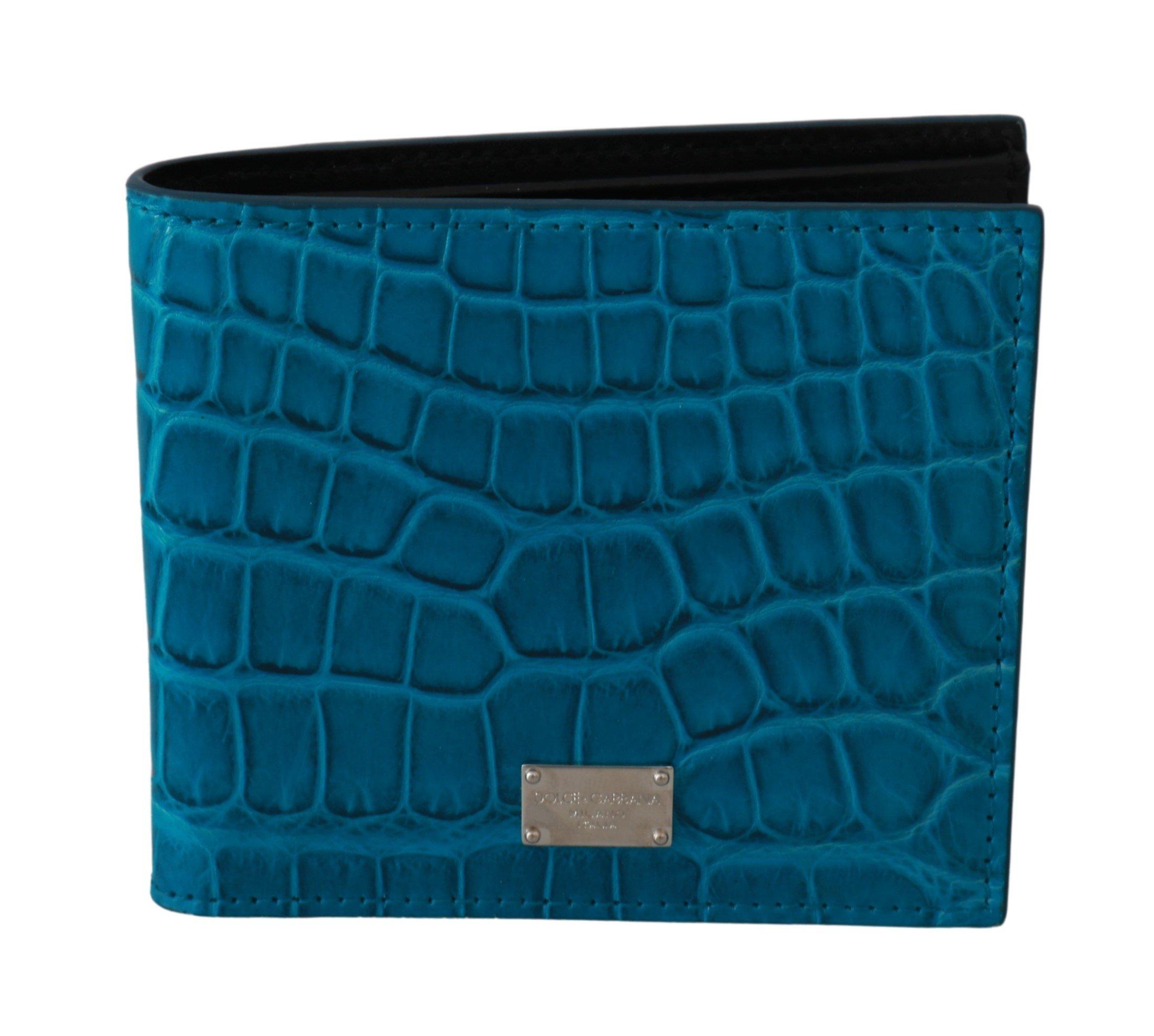 Dolce & Gabbana Men's Card Holder Bifold Skin Wallet Blue VAS9356