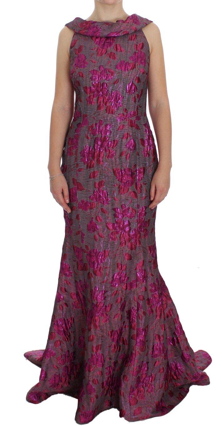 Dolce & Gabbana Women's Floral Brocade Sheath Gown Dress Pink NOC10189 - IT44|L