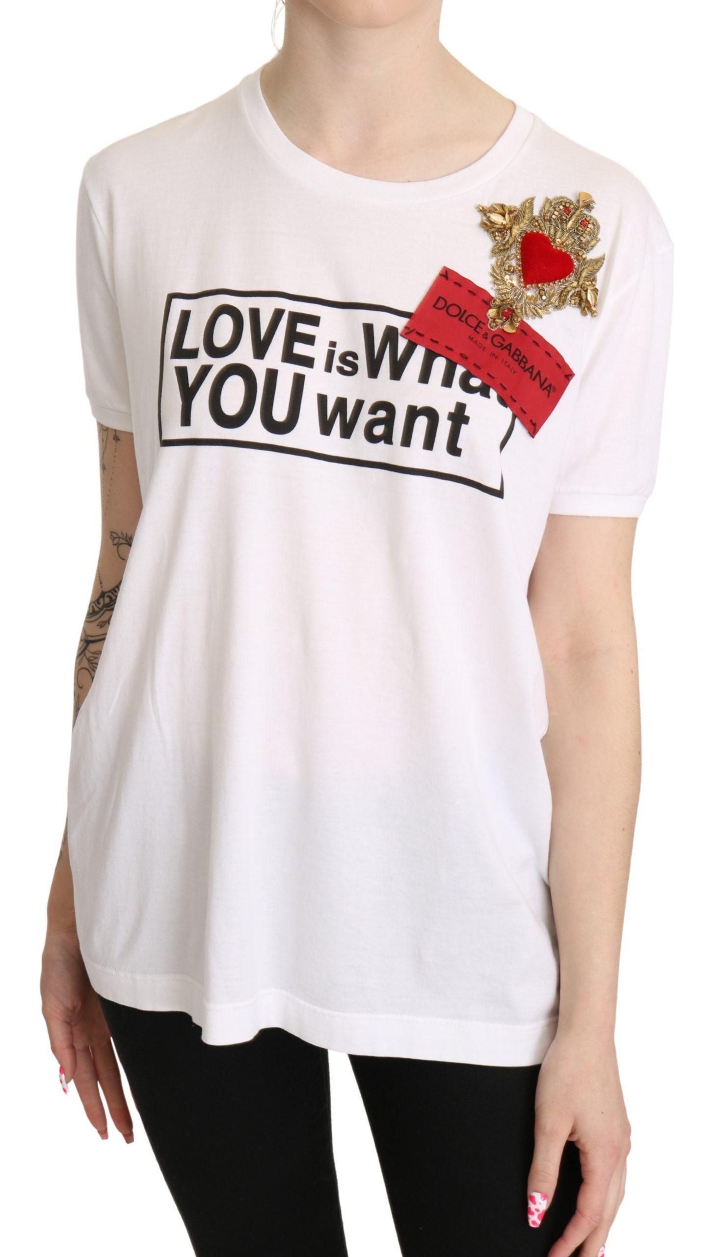 Dolce & Gabbana Women's Heart Cotton Casual Top White TSH5267 - IT40|S