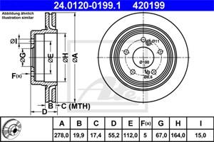 Jarrulevy, Taka-akseli, MERCEDES-BENZ 124 Sedan [W124], 124 T-Model [S124], E-KLASS [W124], E-KLASS T-Model [S124], 124 423 06 12, 124 4