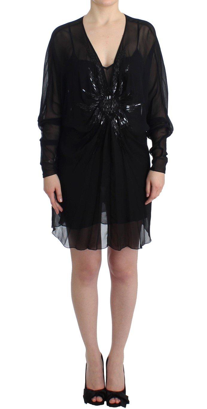 Cavalli Women's Silk Dress Black SIG11635 - IT40 S