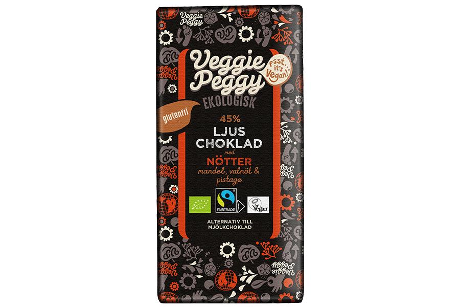 Veggie Peggy Ljus Choklad - Nötter 85g
