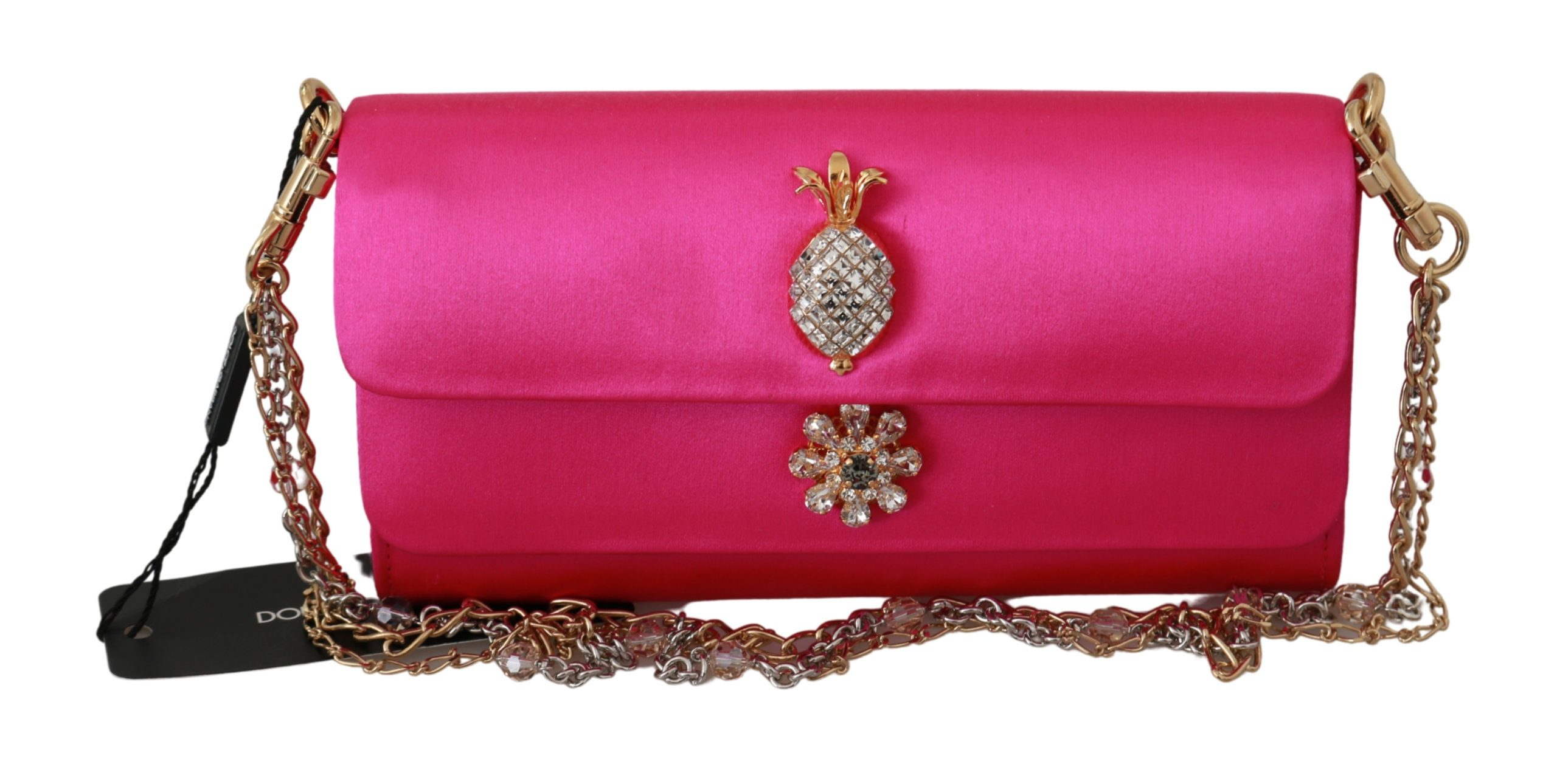 Dolce & Gabbana Women's Crystal Studs Evening Long Sling Crossbody Bag Pink VAS9199