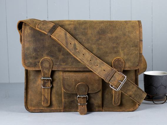 Traditional Old School Leather Satchel Bag Brown 15 Inch