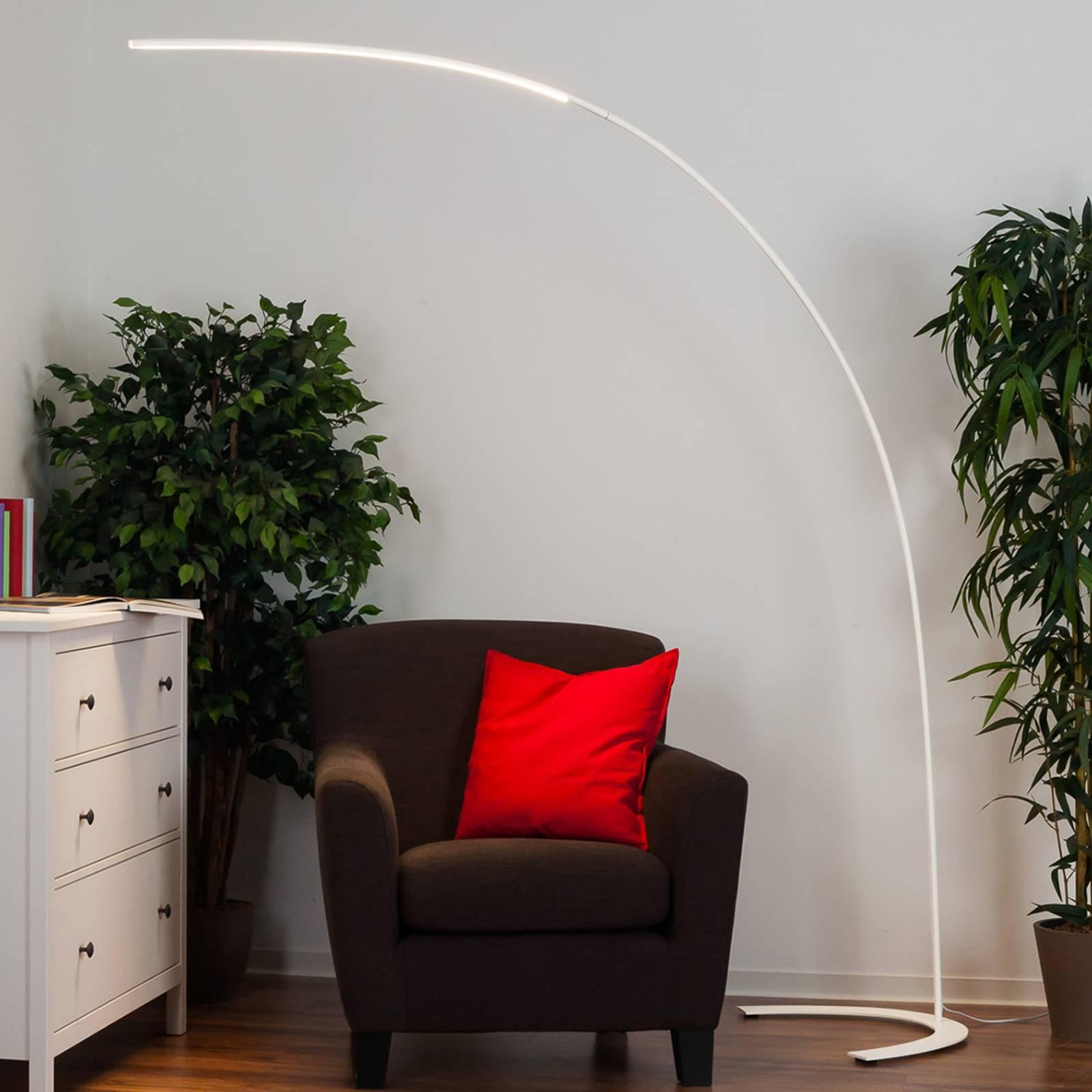 Minimalistinen LED-lattiavalaisin Danua, valkoinen