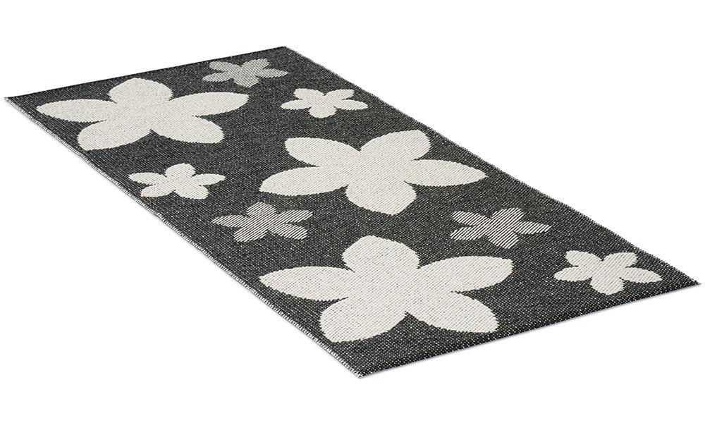 Flower svart - plastteppe