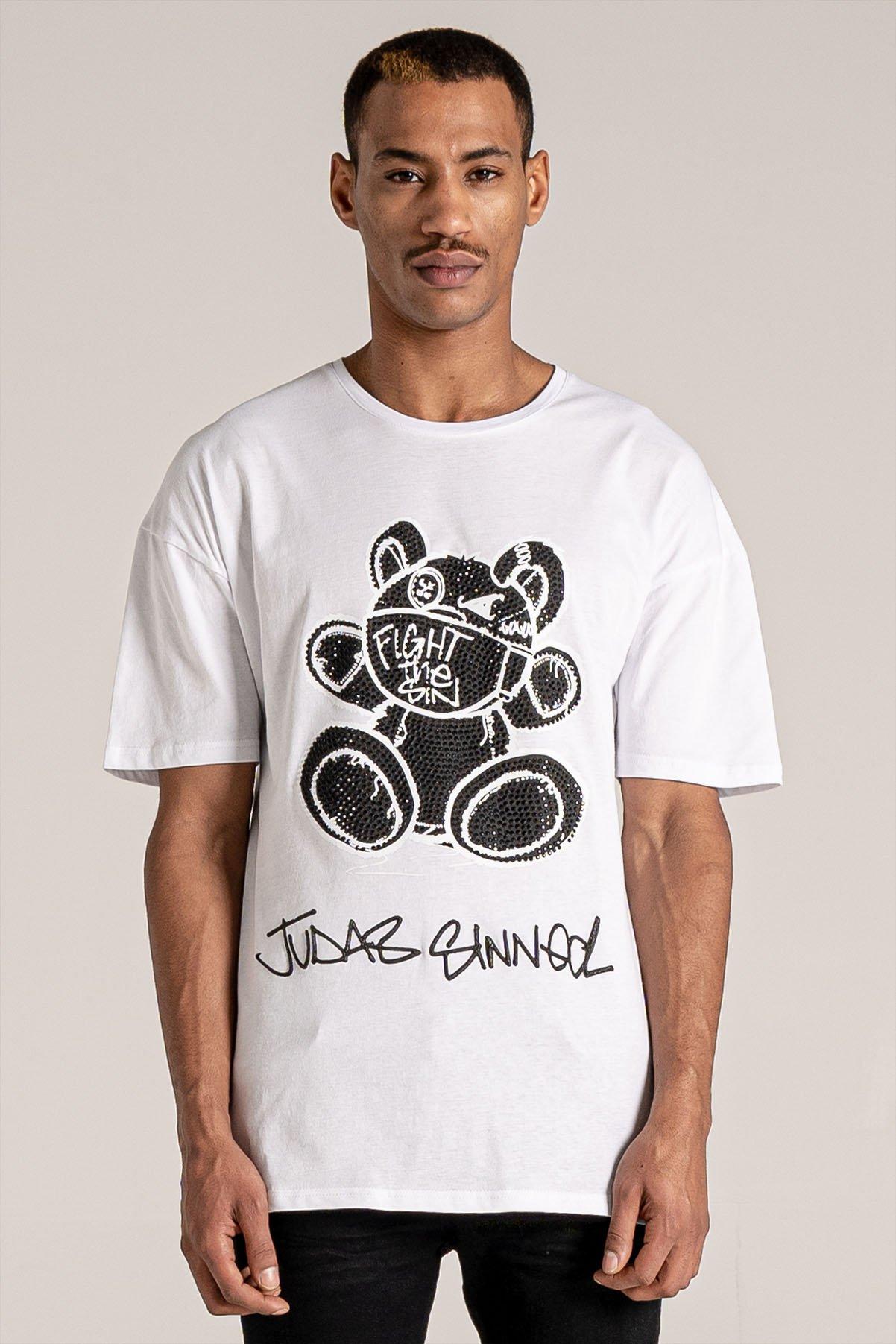 Fight Mask Bear Print Men's T-Shirt - White, Medium