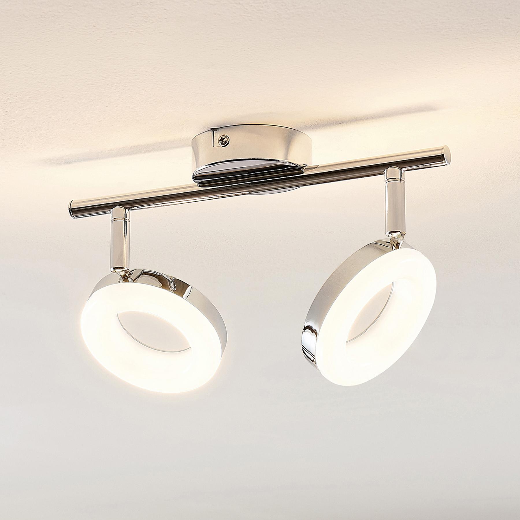 ELC Tioklia -LED-kattovalo, kromia, 2-lamppuinen
