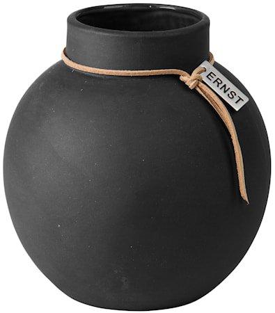 Rund vase Steintøy, 14 cm – Mørkegrå
