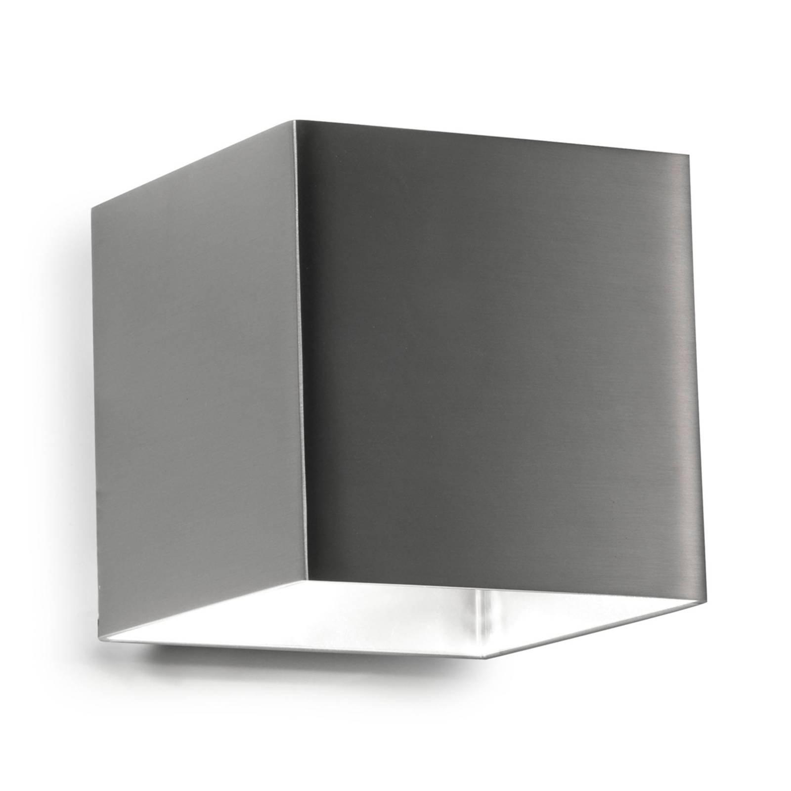 Firkantet LED-vegglampe Basic, nikkel