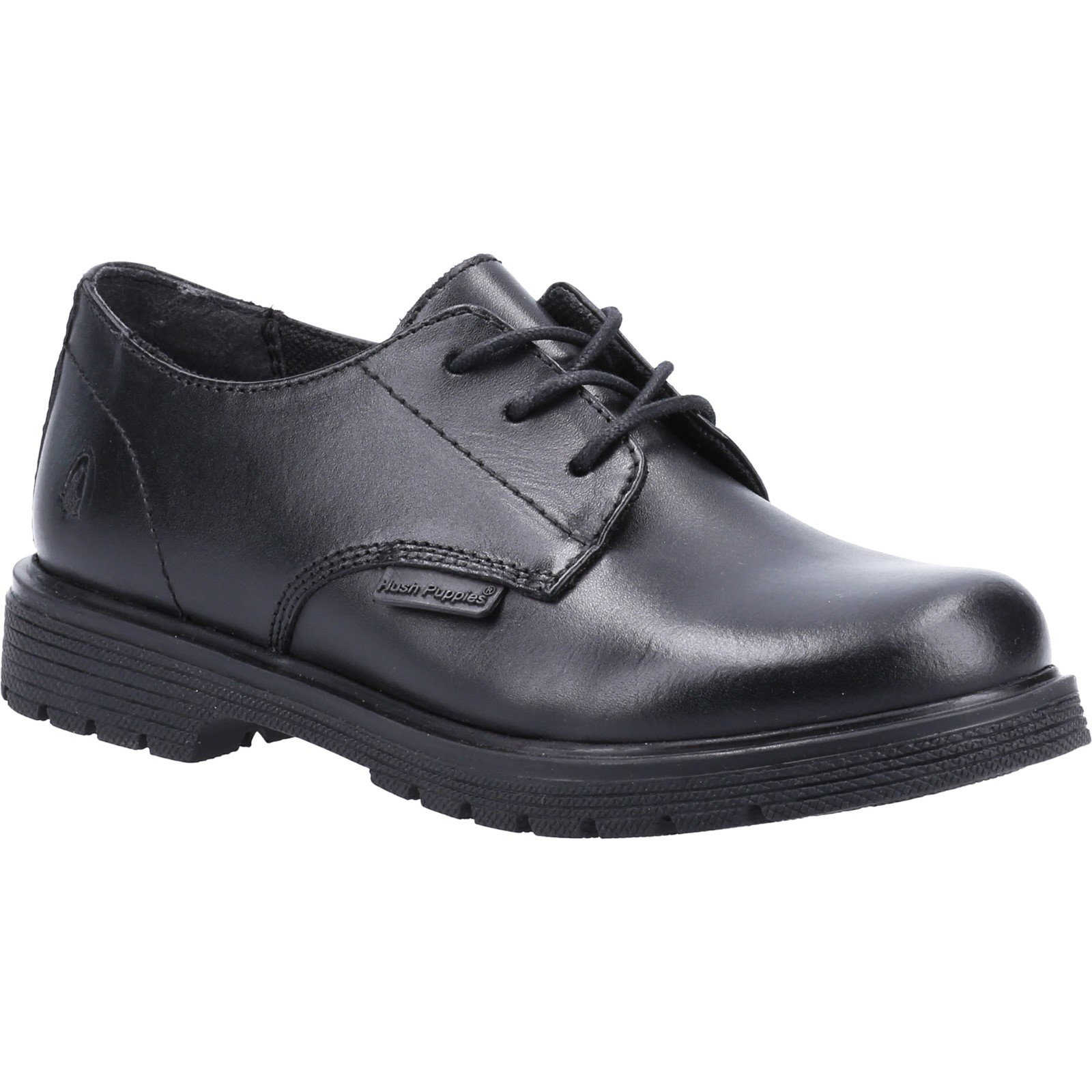 Hush Puppies Kid's Remi Senior School Derby Shoe Black 32613 - Black 4