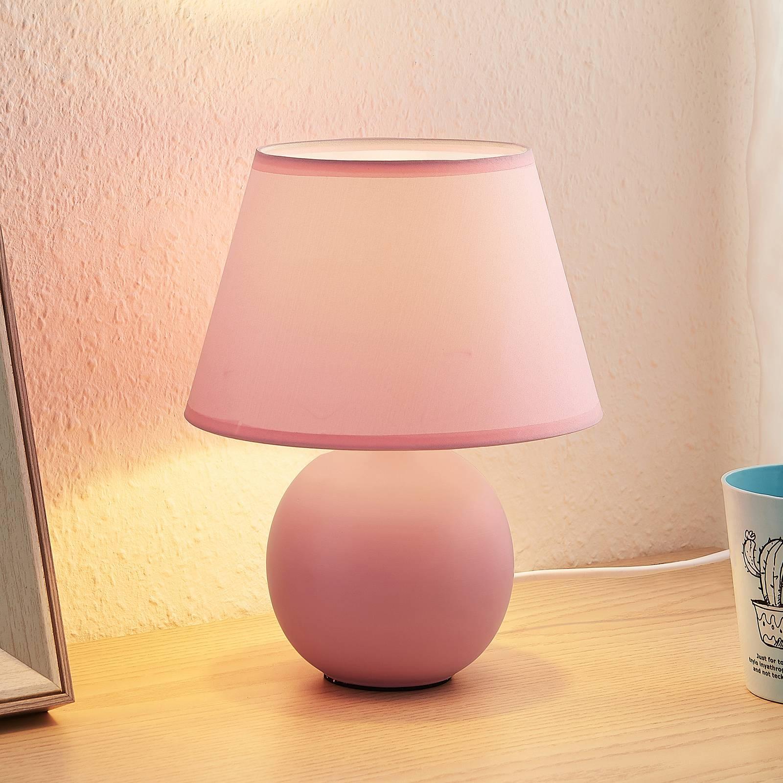 Lindby Calliota -pöytälamppu, vaaleanpunainen
