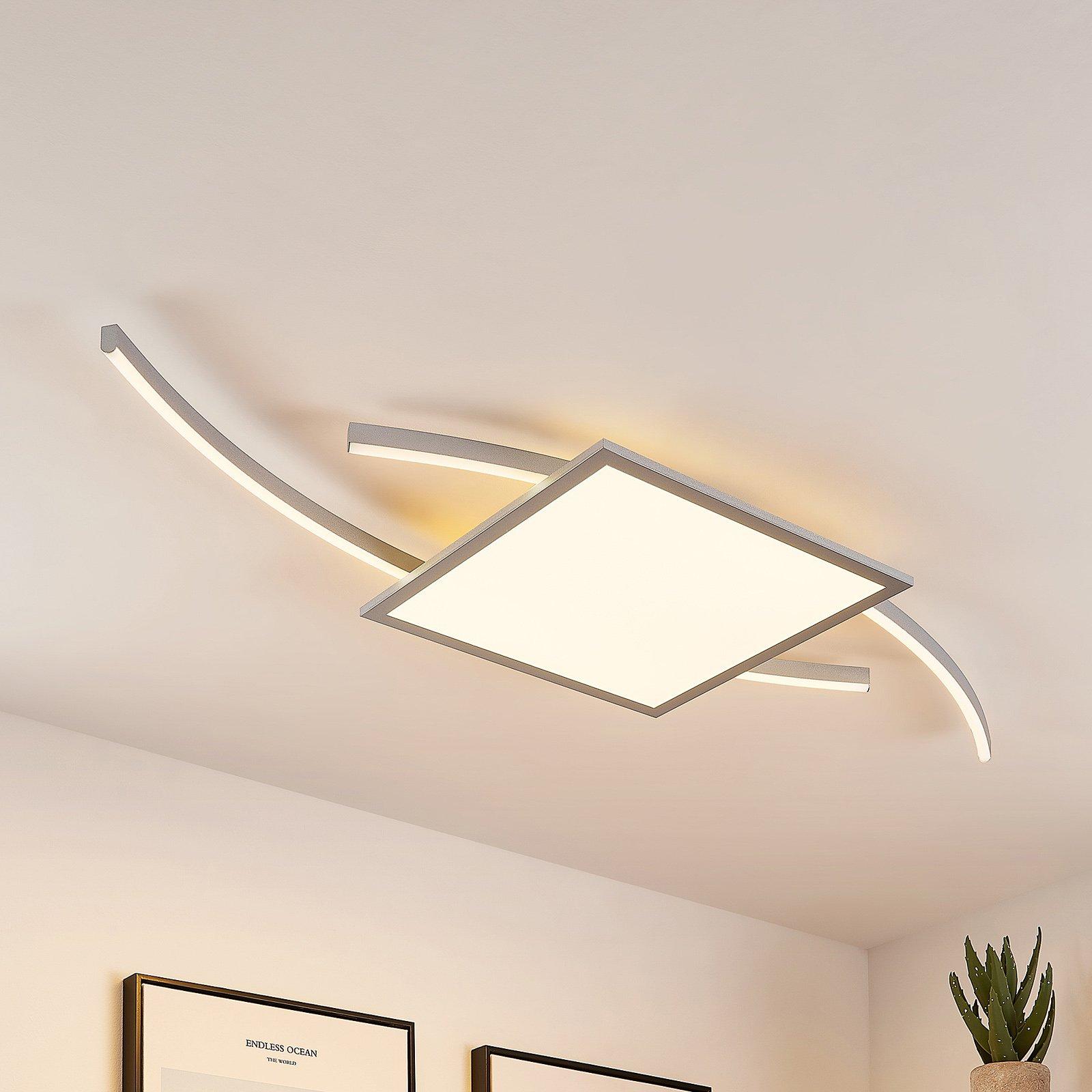 Lucande Tiaro LED-taklampe, kantet, 40 cm, CCT