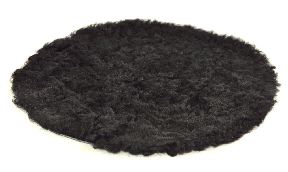 Krøllete rund stolpute i saueskinn - svart
