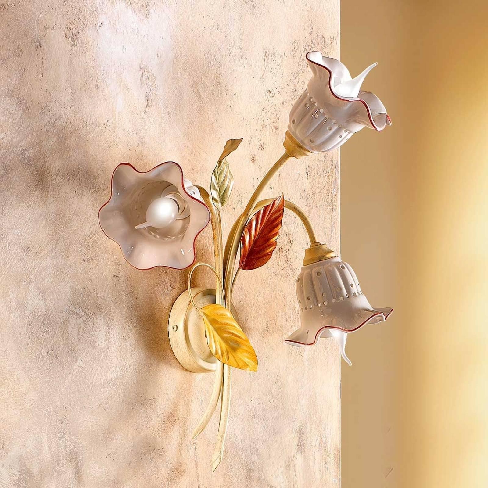 3 lyskilder vegglampe Flora i firenzestil