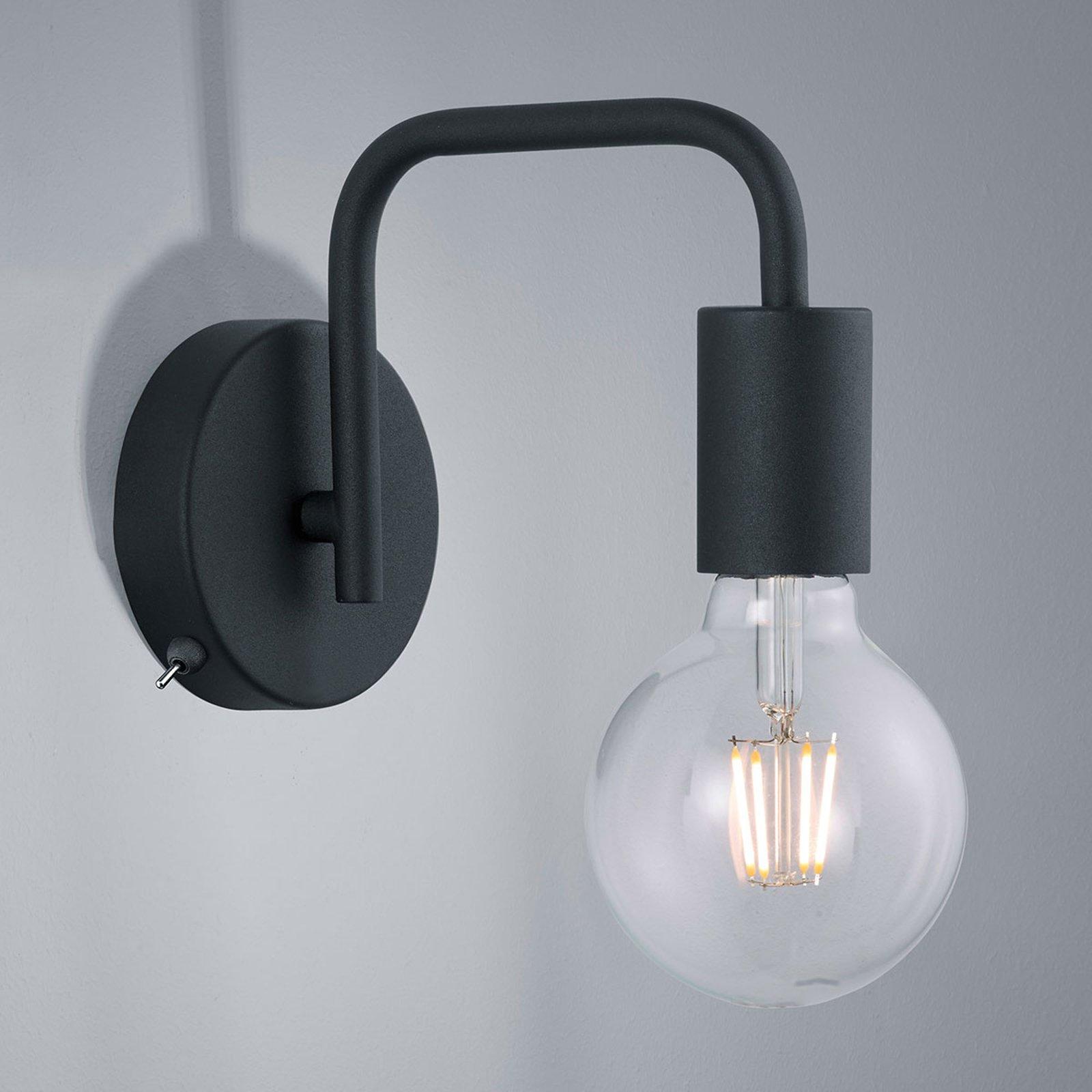 Vegglampe Diallo uten skjerm matt svart