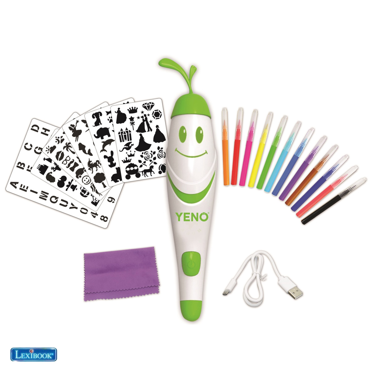 Lexibook - Aerograph, the magical electronic air spray marker incl. stencils and 12 watercolor pens (CR800)