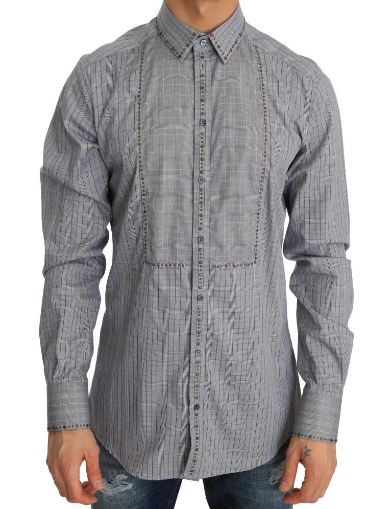 Dolce & Gabbana Men's Check GOLD Cotton Slim Fit Shirt Gray TSH1988 - 40