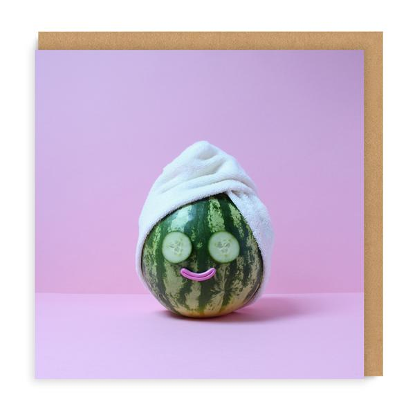 Watermelon Spa Square Greeting Card