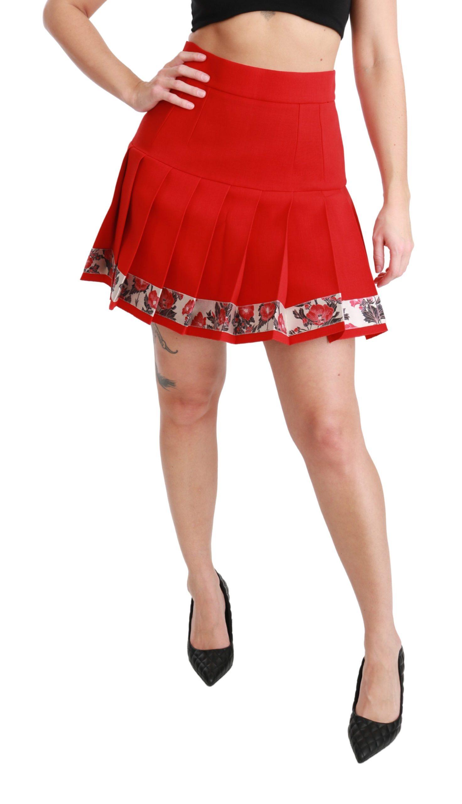 Dolce & Gabbana Women's Wool High Waist Pleated Floral Skirt Red SKI1436 - IT42 M