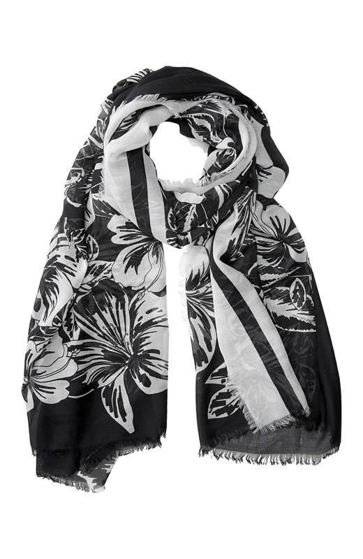 Cellbes Blommig scarf Svart Vit
