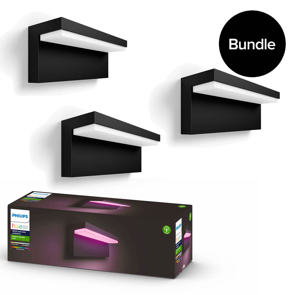 Philips Hue - 3x Nyro Outdoor Wall Light - White & Colour Ambiance - Bundle