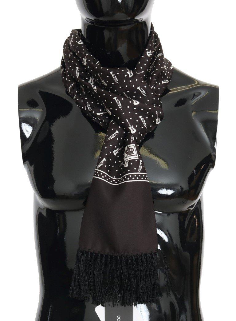 Dolce & Gabbana Men's Silk Instrument Fringes Scarf Black MS1967