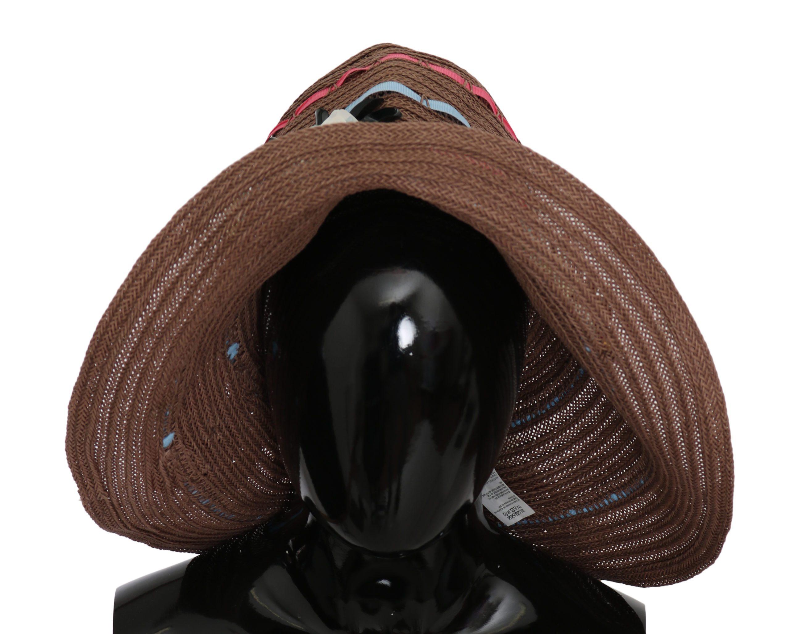 Dolce & Gabbana Women's Floral Wide Brim Straw Hat Brown HAT9063 - 58 cm M