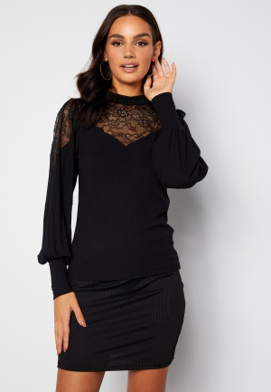 Happy Holly Nathalie lace puff top Black 32/34