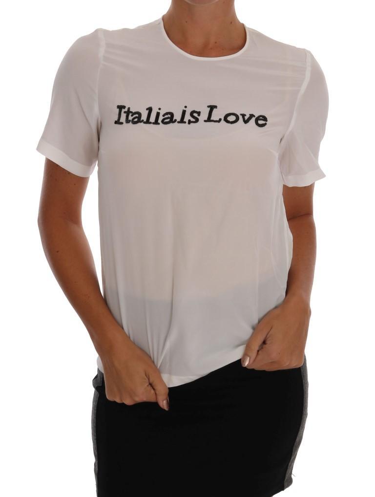 Dolce & Gabbana Women's Silk ITALIA IS LOVE Top White TSH1100 - IT36 | XS