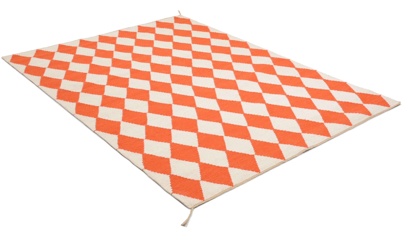 Harlequin orange - håndvevd ullteppe