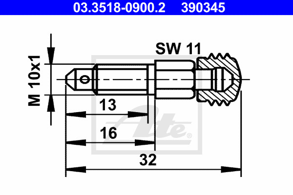 Huohottimen pultti / venttiili ATE 03.3518-0900.2