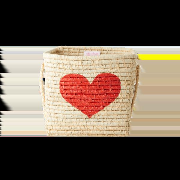 Rice - Small Square Raffia Basket - Heart