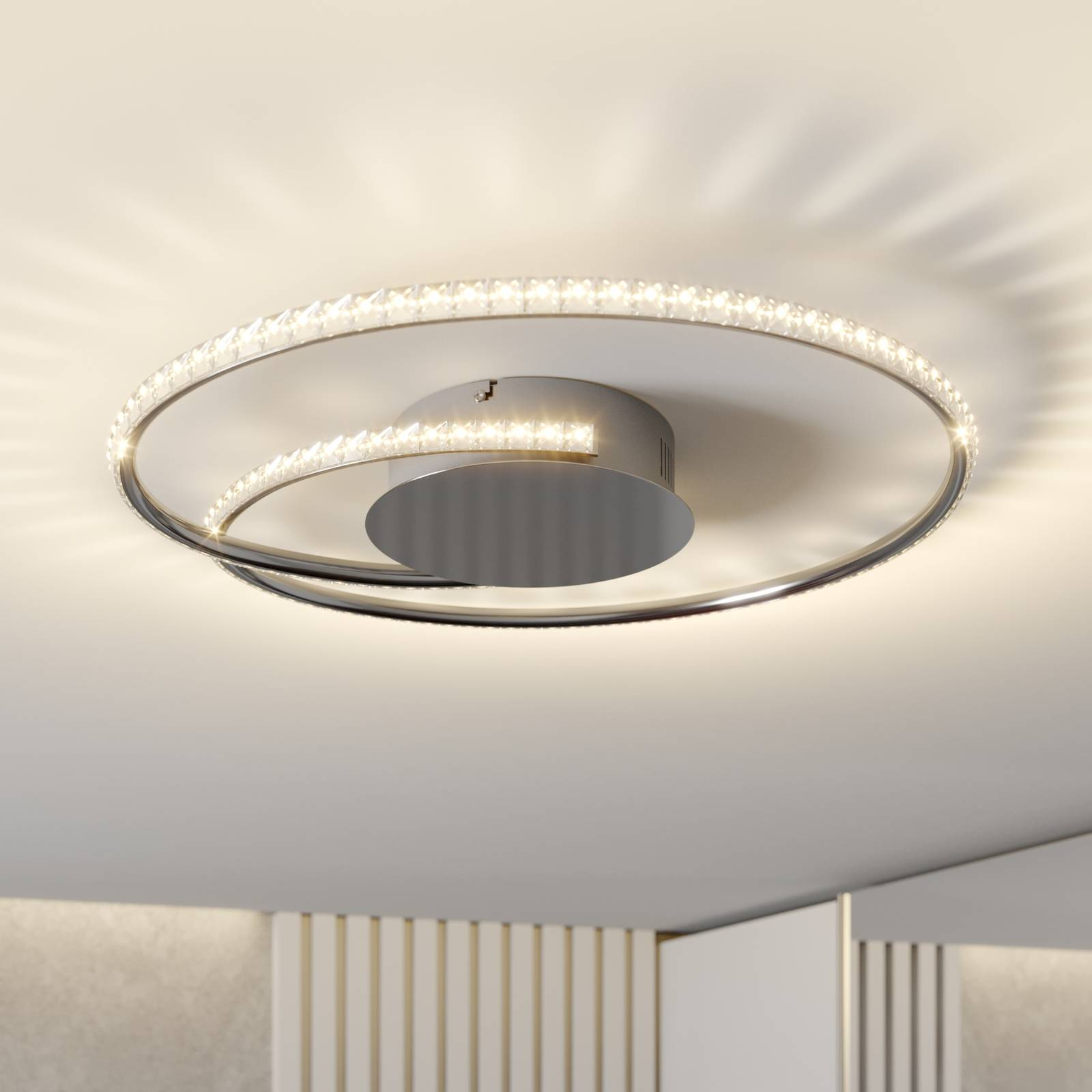 Lindby Joline LED-kattovalaisin, kristalli, 45 cm