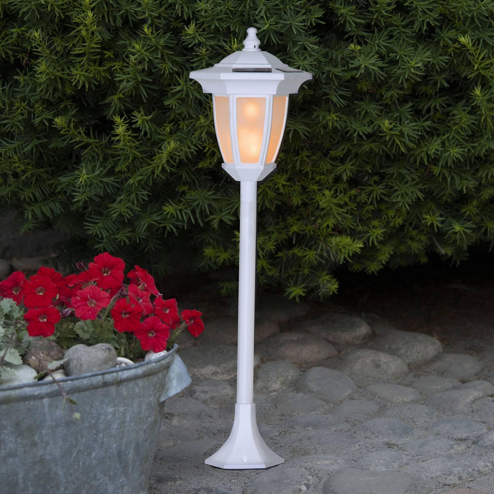 LED-solcellelampe Flame 4 i 1 hvit