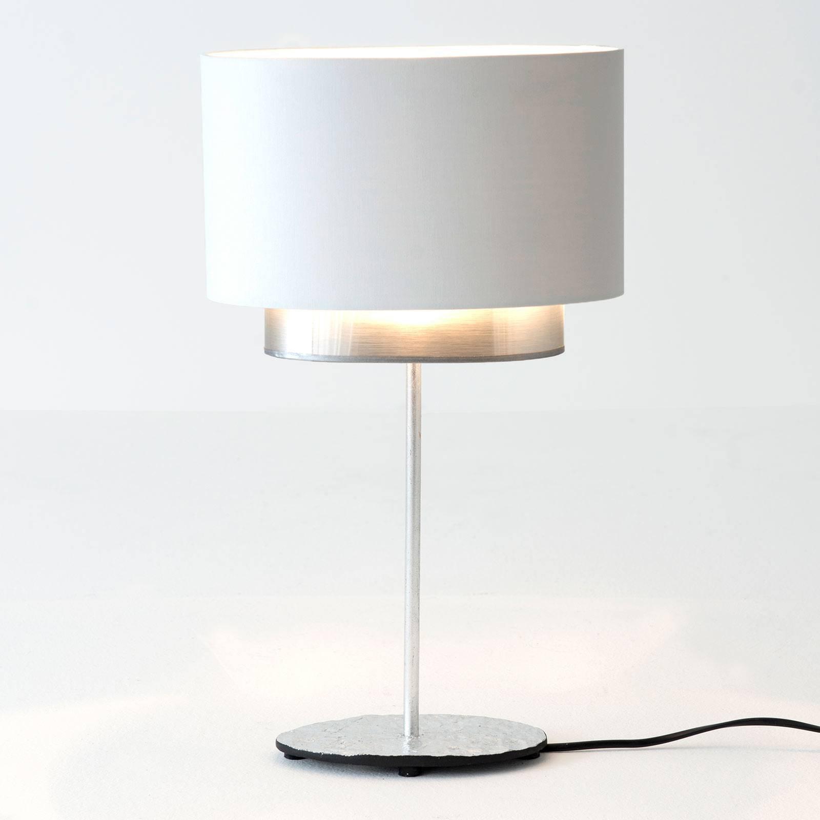 Bordlampe Mattia, oval, dobbel, hvit/sølv
