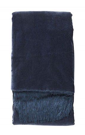 Filt Velvet med frynser - Dark blue
