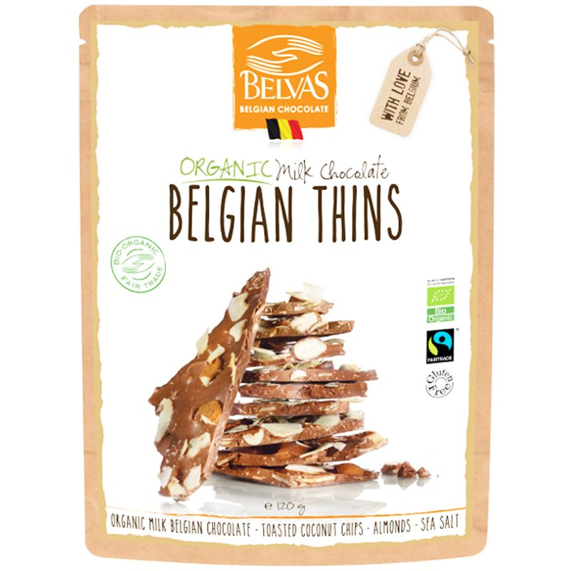 """Maitosuklaa, """"Belgian Thins"""" 120 g - 67% alennus"""