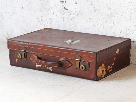 Vintage Leather Suitcase Brown